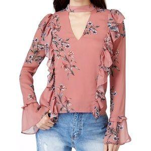 New endless rose choker M floral blouse ruffle